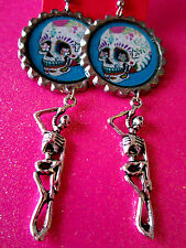 Day Of The Dead Sugar Skull With Skeleton Dangle Charm Earrings #3