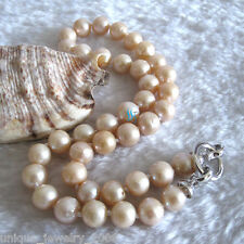 """18"""" 9-11mm Peach Pink kasumi AA Freshwater Pearl Necklace"""