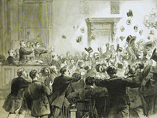 Trial Mayor Hall COURTROOM SCENE Jury Votes Not Guilty 1874 Law Art Print Matted