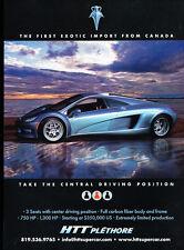 2009 HTT Plethore Supercar Canada - Classic Car Advertisement Print Ad J63
