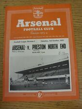 03/10/1953 Arsenal v Preston North End  (Neat Match Details Noted On Cover/Insid