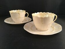 "Set Of 2 ~ BELLEEK ""New Shell"" Tea Cup & Saucer Sets~ 4th Green Mark 1946 ~1955"