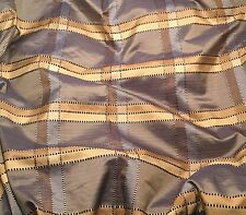 "Blue & Beige PLAID Silk TAFFETA Fabric  fat 1/4 18""x27"" remnant"