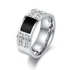 Men's Silver & Black Titanium Steel Crystal Rings Engagement Band Size 7-13