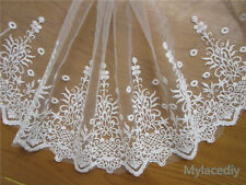 1 yd Embroidered Cotton Net Lace Edge Trim Wedding Ribbon Applique Sewing Patch