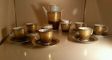 Antique Stunning Pirkenhammer Czechoslovakian 17 pc Tea Set Heavy Etched Gold