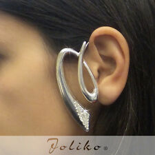 JoliKo Ohrklemme Ear cuff Ohrring Silber Sign Kurve Tattoo Cyber Kristall LINKS