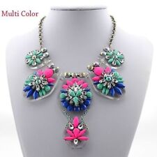 Fashion Chain Women Crystal Flower Choker Bib Chunky Statement Necklace jewelry