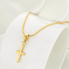 24K Yellow Gold Filled Cross Pendant & Necklace Uni-Sex