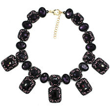 BEAUTIFUL ZARA PURPLE FACETED SPARKLING STONES STATEMENT NECKLACE – NEW