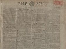 "RARE ORIGINAL NEWSPAPER ""THE SUN"" (9 June 1800) FRANCIS STEELE BOND-NAPOLEON-USA"