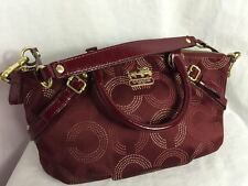 Coach Signature OP Art Sophia Tote Satchel Purse in Mahogany, 15935, w/Dust Bag