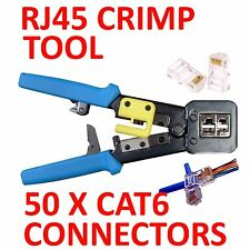 EZRJ45PRO CRIMP TOOL & WIRE STRIPPER +50 CAT 6 CONNECTORS  ( EZ-RJ45 EZ RJ45)