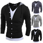 Fashion Men Slim Fit V Neck Long Sleeve Hooded Casual T-Shirt Tops Tee Shirts