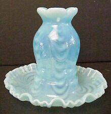 Fenton Art Glass Blue Topaz Opalescent Drapery Optic One Piece Fairy Light