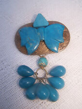 KATRINA vintage  TURQUOISE BOW WITH genuine TURQUOISE drops on raw brass PIN