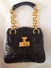MARC JACOBS BLACK QUILTED PADDED LEATHER SHOULDER BAG GOLD CHAIN Made In ITALY