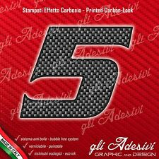 Adesivo Stickers NUMERO 5 moto auto cross gara Carbon Effect Back 10 cm