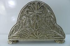 ANTIQUE VINTAGE 68 GRAMS ALL SOLID SILVER FILIGREE MADE DECORATED NAPKIN HOLDER