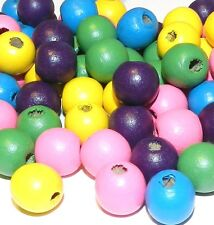 WXL250 Bright Color Yellow Pink Blue Green Purple Mix 14mm Round Wood Beads 90gm