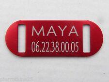 PLAQUE Médaille rouge collier Chien Chat  collier harnais gravure offerte