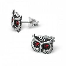 Childrens Ladies Sterling Silver Owl Ear Studs with Crystal stud earrings