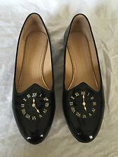 Charlotte Olympia Fashionably Late Clock Patent Black Patent Leather 41 10 EUC