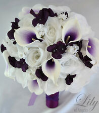 17 Piece Package Silk Flower Wedding Bridal Bouquet Picasso Calla PURPLE PLUM