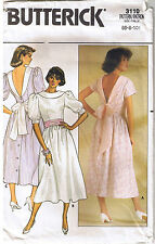 Vtg 80s Deep V Back with Ties Dress Collar Sash Butterick Sewing Pattern 6 8 10