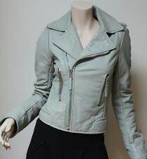 New $2745 Balenciaga Moto Biker Leather Light Gray Jacket Size 40