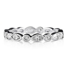 Stacking Ring 925 Solid Sterling Silver Clear Round Oval Stones Band Size 8