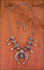 Petite Squash Blossom Necklace Set Antiqued Silver Turquoise Fashion Small Size