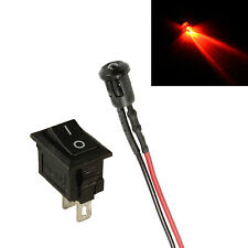 Flashing Red Small 3mm LED + Switch Car, Boat, Caravan Dummy Fake Alarm 12V