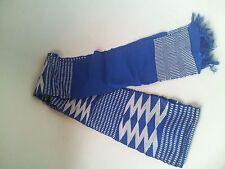 """Kente Pattern Woven Scarf Sash .4-5"""" x approx 68"""". Blue Gray / White"""