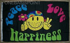 3'x5' PEACE LOVE HAPPINESS FLAG OUTDOOR BANNER HIPPIE SMILEY FACE HAPPY NEW 3X5