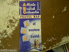 VINTAGE MAP - Late 1940s - Alberta, and British Colombia Travel Map - CANADA