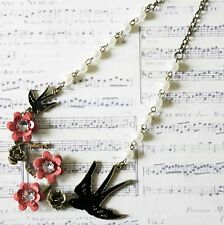 KiTsCh FLOWER CHERRY BLOSSOM ENAMEL SWALLOW ANTIQUE BRONZE FAUX PEARL NECKLACE