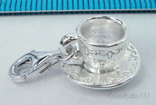 1x STERLING SILVER TEA CUP CHARM PENDANT EUROPEAN LOBSTER CLIP ON CHARM #2014