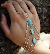 Alliage chaîne charme Interweave turquoise bracelet finger ring slave hand harness
