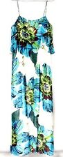 Aqua Dresses Brand Maxi Sun Dress Sheer Chiffon Huge Floral Motif  NWT Sz 12