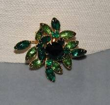 Vintage Disigner Emerald Green & Apple Green Pin Brooch by BeauJewels