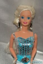 90s Western Barbie Blonde SuperStar Face Aqua Eyes Jointed Fashion Doll w/Outfit