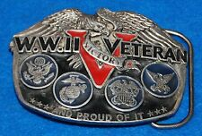 WWII (2) Veteran And Proud Of It Belt Buckle, Complete & Functional.