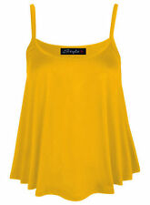 NEW WOMENS PLAIN SWING VEST SLEEVELESS TOP STRAPPY CAMI VEST LADIES PLUS SIZE