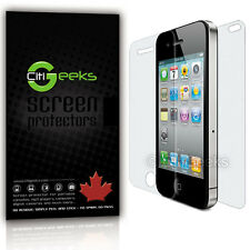 CitiGeeks® iPhone 4 4S Screen Protector Crystal Clear HD Front + Back [2-Pack]
