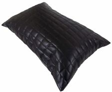 FILLED SUPERB FAUX LEATHER PADDED SOFT BLACK SQUARES CUSHION 35 X 50CM