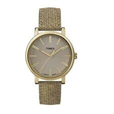 NEW-TIMEX GOLD TONE,TAN,BEIGE LEATHER BAND,TAN+GOLD DIAL,CLASSIC WATCH-T2P173