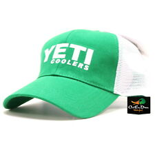 AUTHENTIC YETI COOLERS TRADITIONAL LOGO TRUCKER HAT CAP GREEN & WHITE MESH