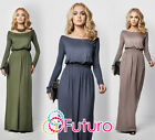 Womens Maxi Dress Full Length Boat Neck Long Sleeve Evening Sizes 8 - 18 FM08