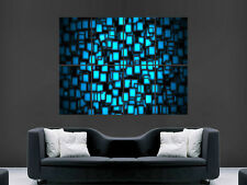 NEON CUBES COLORFUL ABSTRACT  ART WALL LARGE IMAGE GIANT POSTER